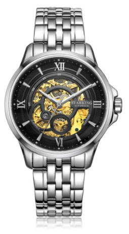 Sanctuary Watches - SK Swiss Automatic Black & Silver Total Atom Mechanical Skeleton Watch