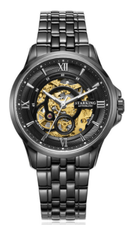 Sanctuary Watches - SK Swiss Automatic Black Total Atom Mechanical Skeleton Watch