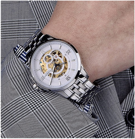 Sanctuary Watches - SK Swiss Automatic White & Silver Atom Mechanical Skeleton Watch