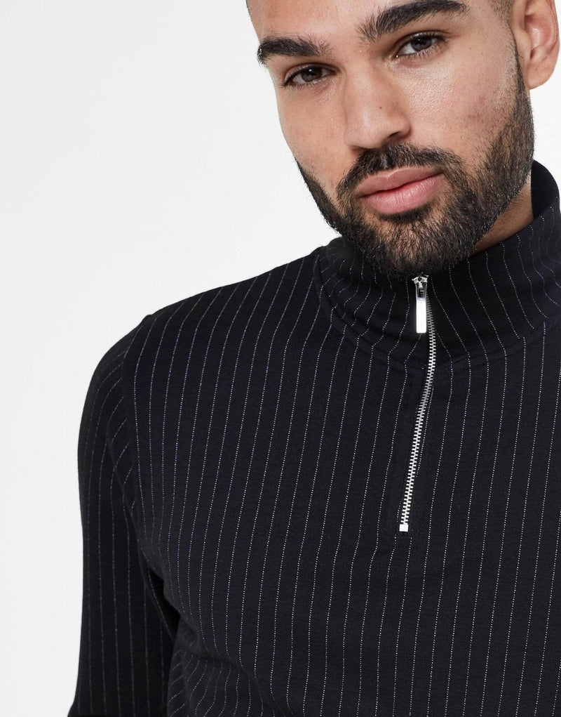 Clarke Essence Pin Stripe Quarter Zip - Black