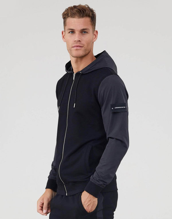 Jameson Carter Tracksuit Jackets Contrast Nylon Hood Zip Through Hoodie - Black