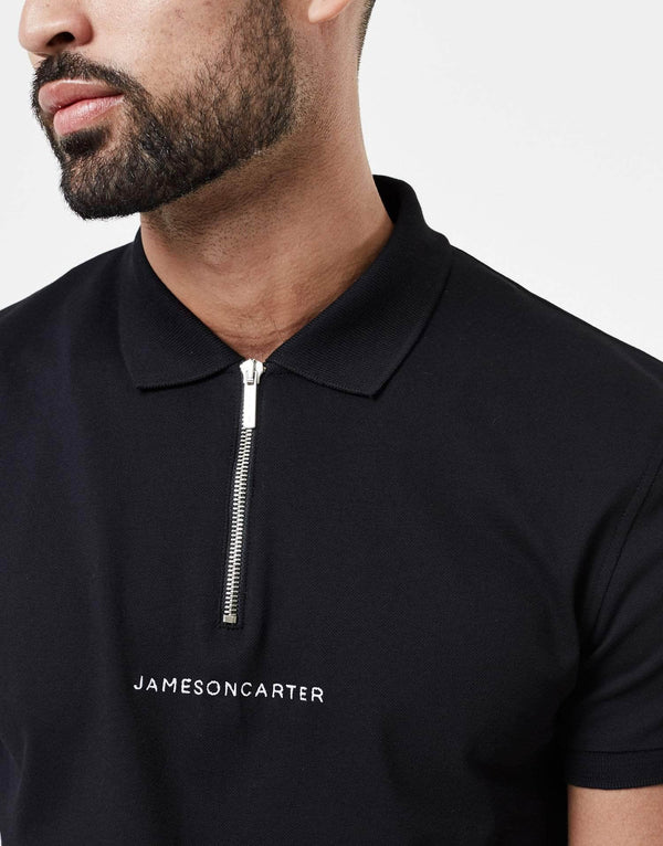 Jameson Carter Men Control Zip Polo - Black