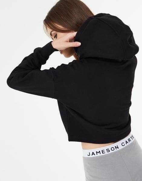 Cropped Paint Stripe Hoodie - Black