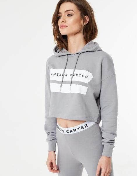Cropped Paint Stripe Hoodie - Silver