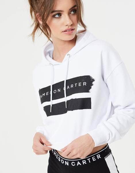 Cropped Paint Stripe Hoodie - White
