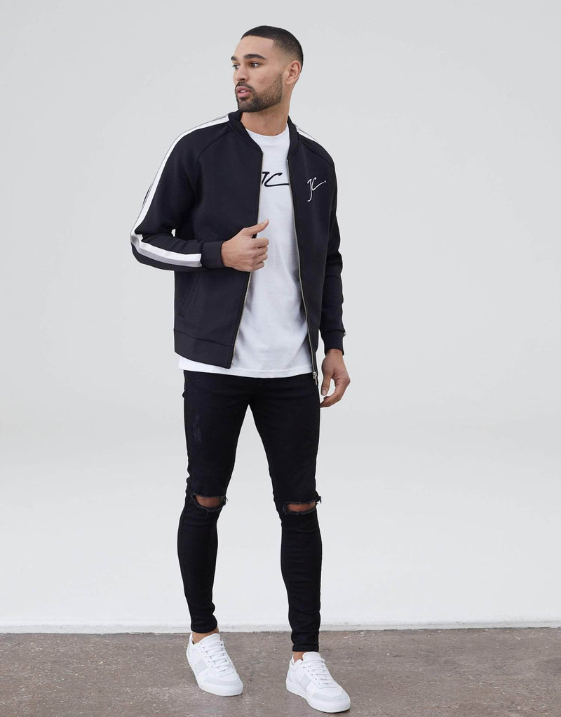 Dual Stripe Poly Bomber - Black