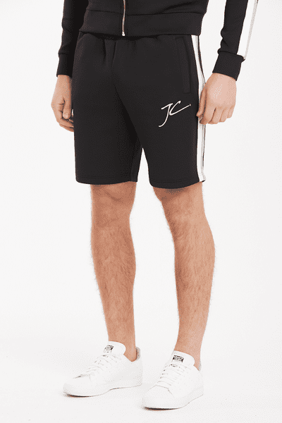 Dual Stripe Poly Shorts - Black