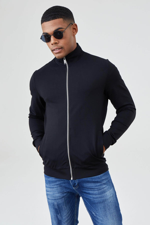 Jameson Carter Knitwear Dylan Knitted Jacket - Black