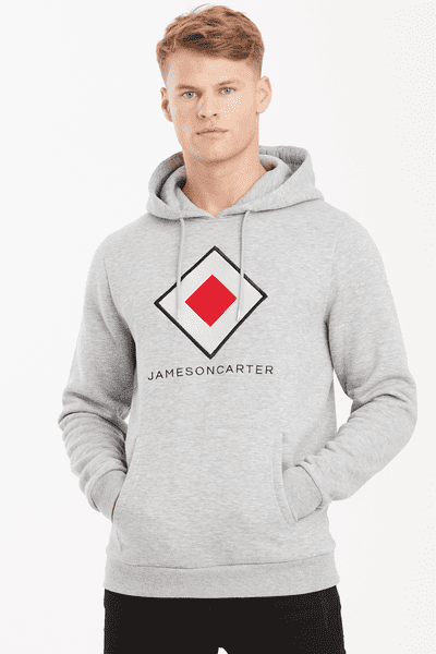 Embroidered Diamond Logo Hoodie - Grey Marl