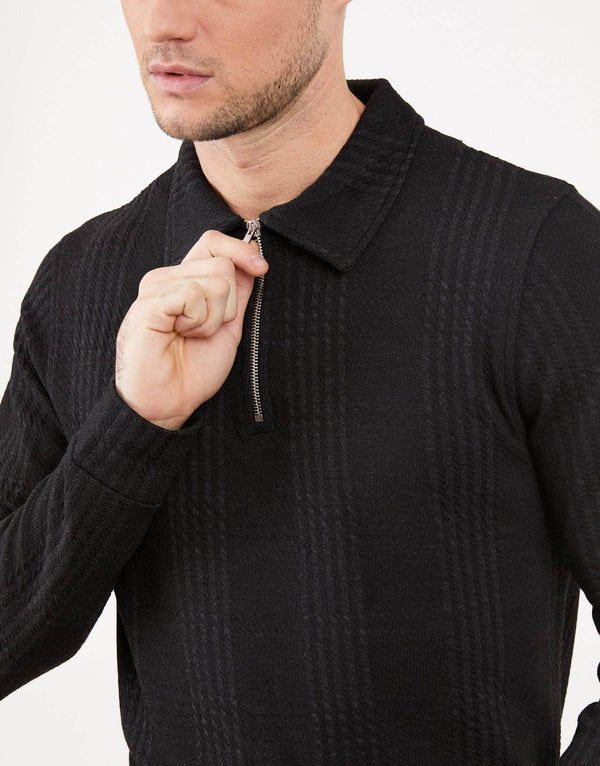 Jameson Carter Quarter Zip Essence Blackout Check Quarter Zip