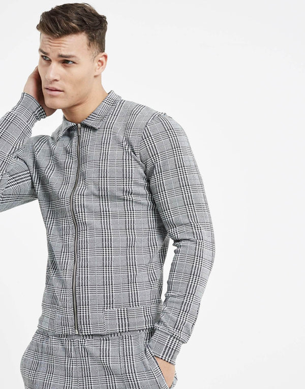 Essence Check Command Zip Jacket - Grey