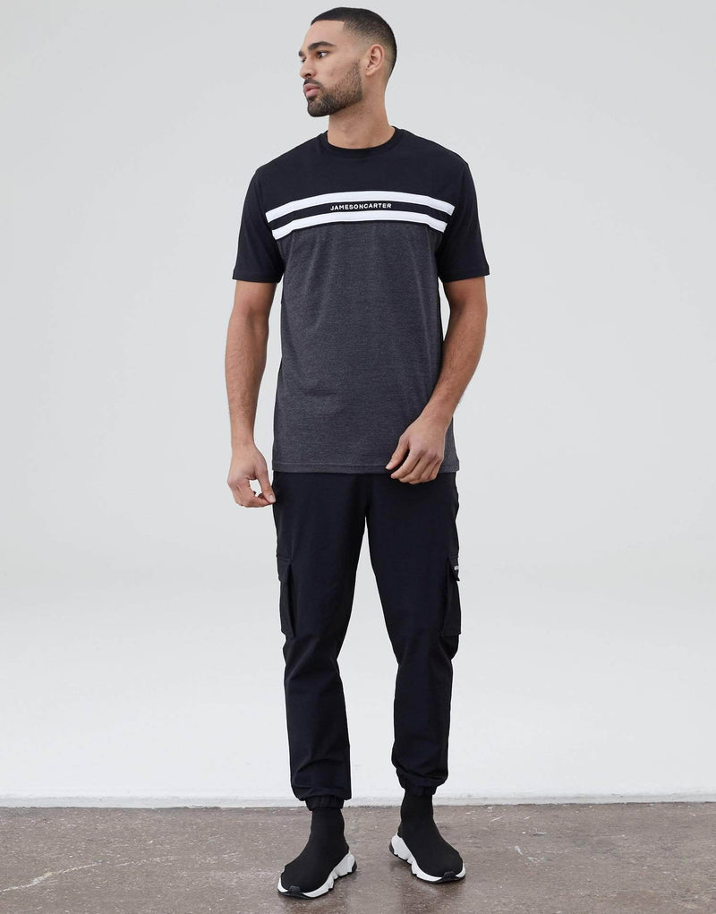 Jameson Carter Chest Stripe T Shirt - Black / Carbon