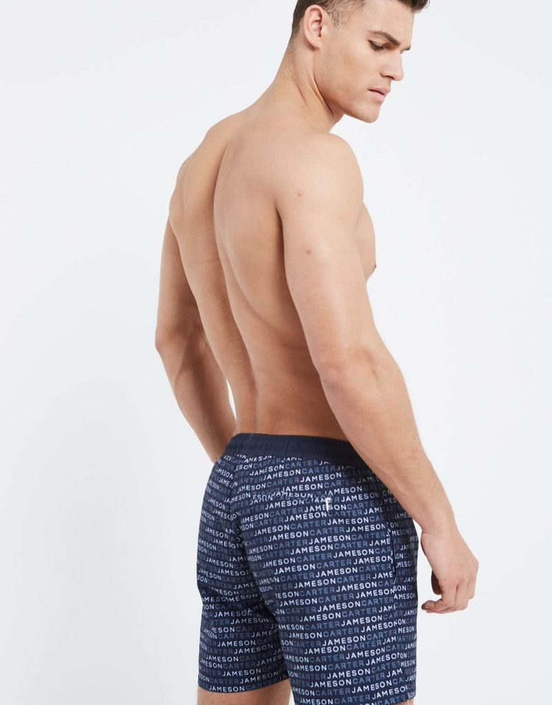 Jameson Carter Repeat Print Swim Shorts - Navy