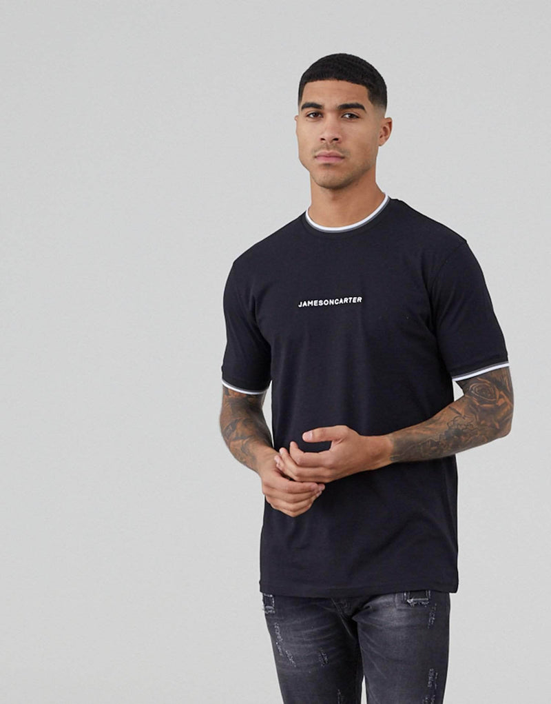 Jameson Carter Ringer T Shirt - Black
