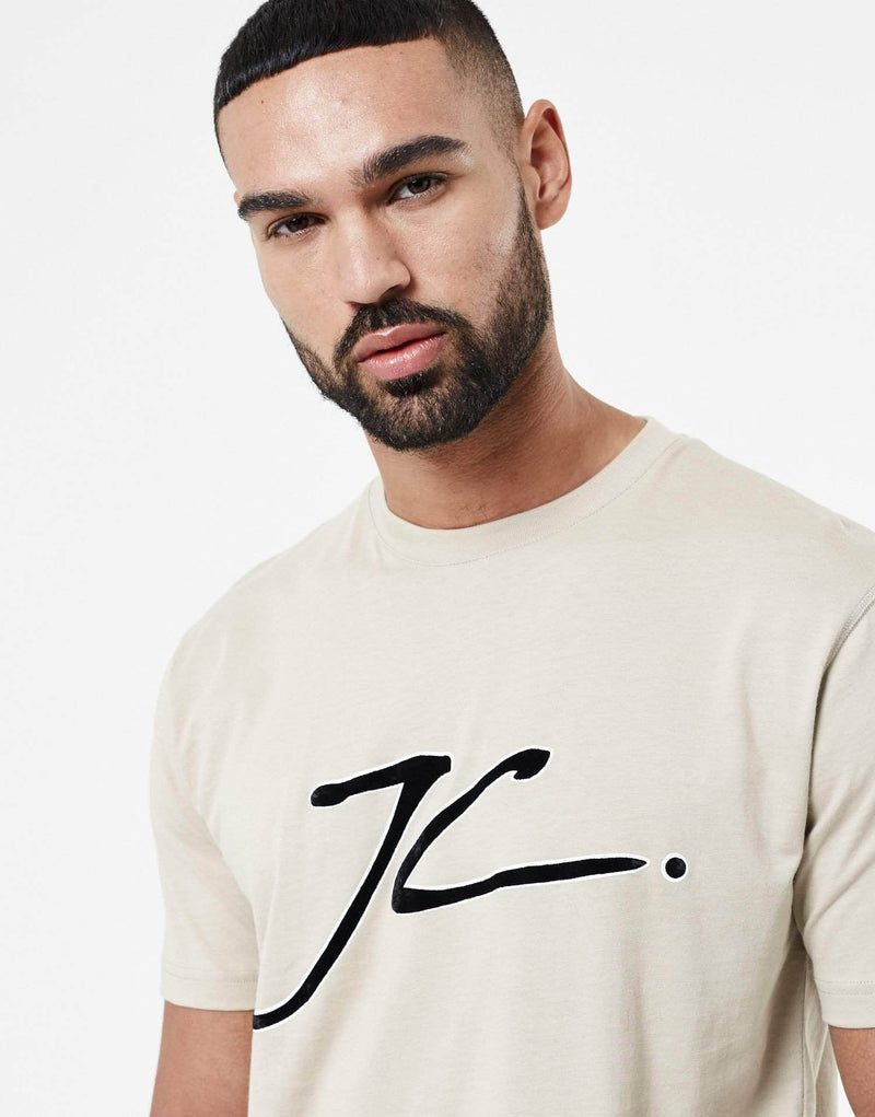 JC Velour Flock T Shirt - Stone