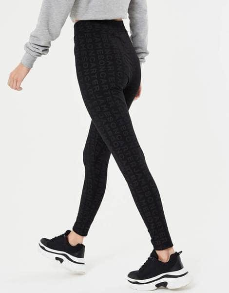 Lennon Repeat Name Leggings - Black