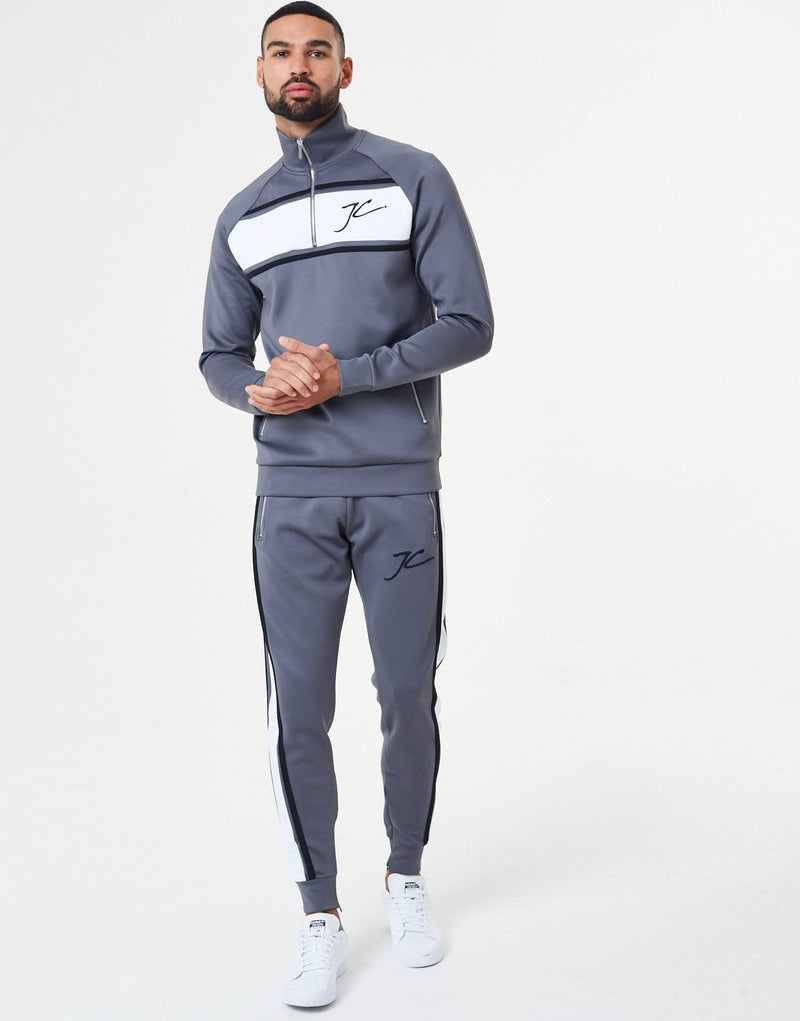 Oxley Poly Tracksuit Zip Through Jacket - Carbon Grey