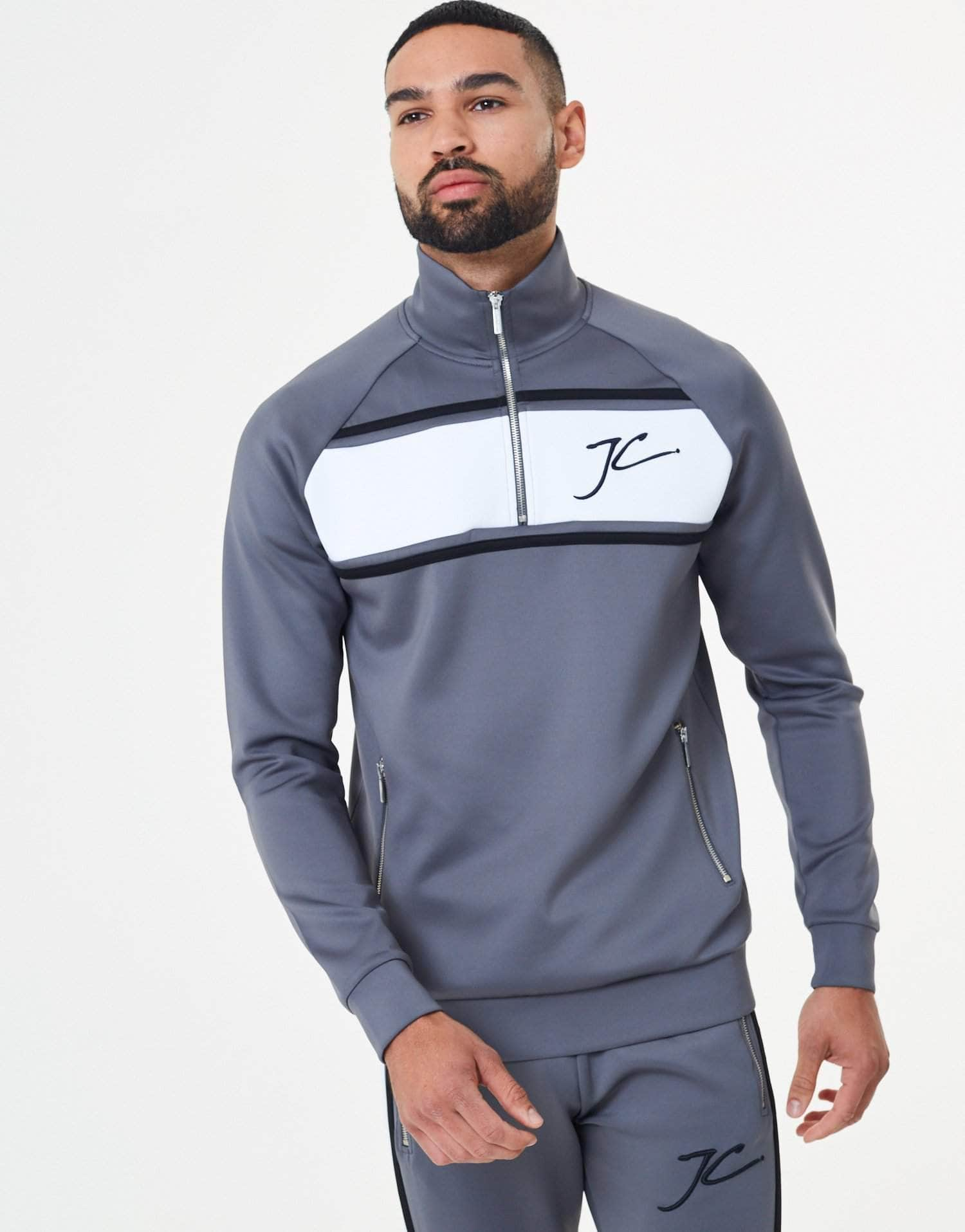 Jameson Carter Tracksuits, not-sale Oxley Poly Tracksuit Zip Through Jacket - Carbon Grey