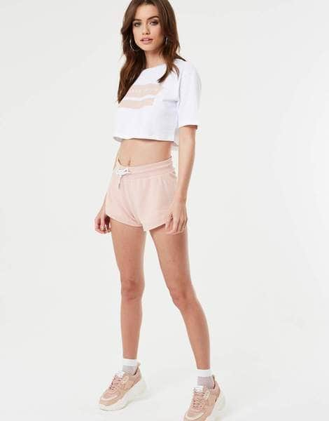 Jameson Carter T-Shirts, sale Paint Stripe Cropped T Shirt - White & Rose