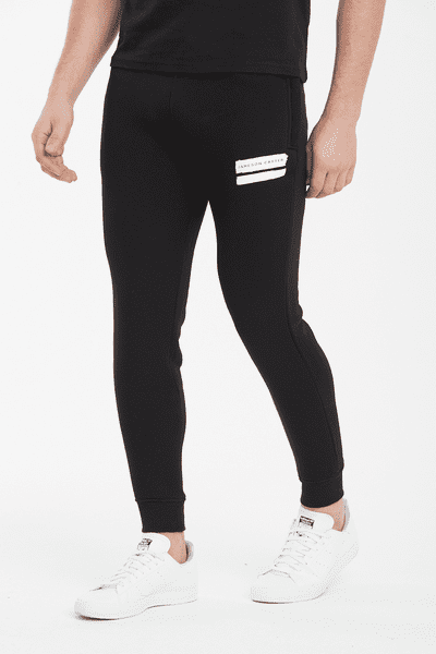 Paint Stripe Jogger Pants - Black