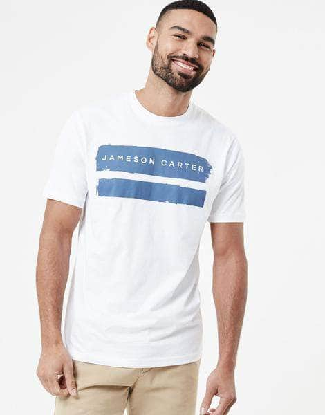 Paint Stripe T Shirt - White & Blue