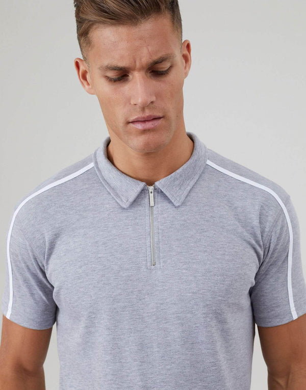 Parlour Twin Set Polo Shirt - Grey Marl