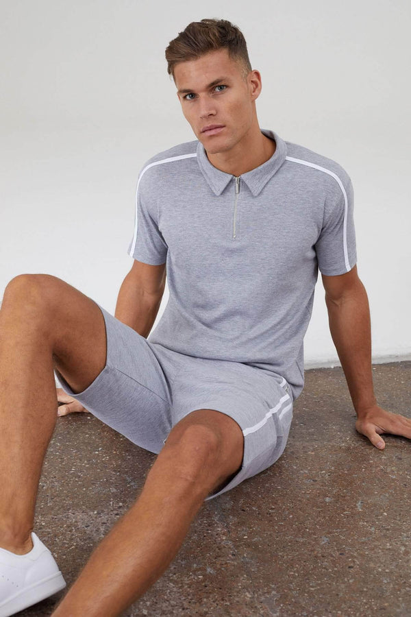 Parlour Twin Set Shorts - Grey Marl