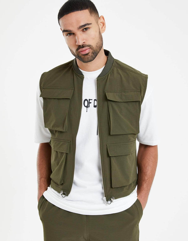 Phantom Combat Gilet Sleeveless Jacket - Khaki
