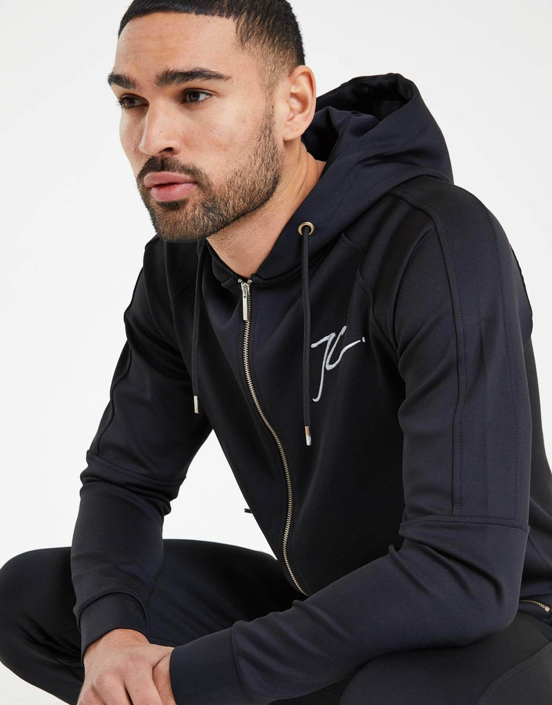 Poly Tracksuit Zip Up Jacket - Black