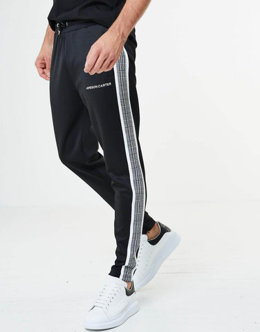 Jameson Carter Tracksuits, sale Portland Check Poly Tracksuit Pants - Black