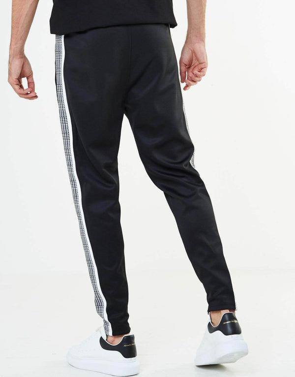 Portland Check Poly Tracksuit Pants - Black