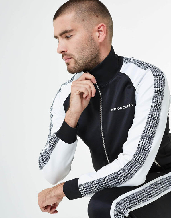 Portland Check Poly Tracksuit Zip Through Jacket - Black