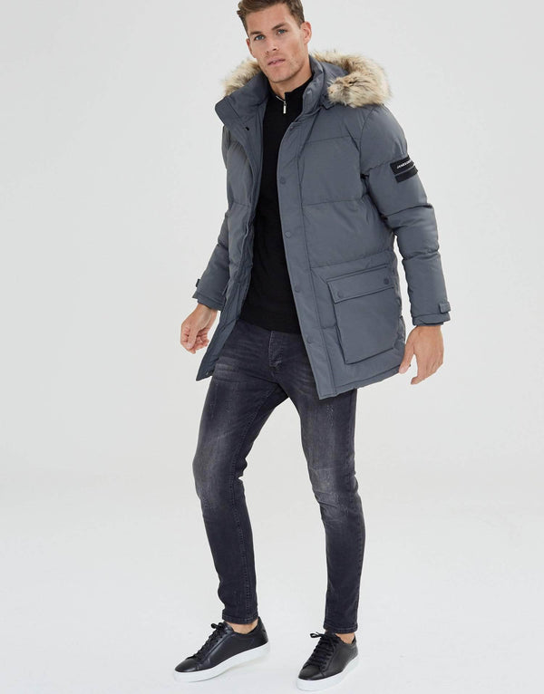 Jameson Carter Coats Premium Long Puffa Jacket - Carbon