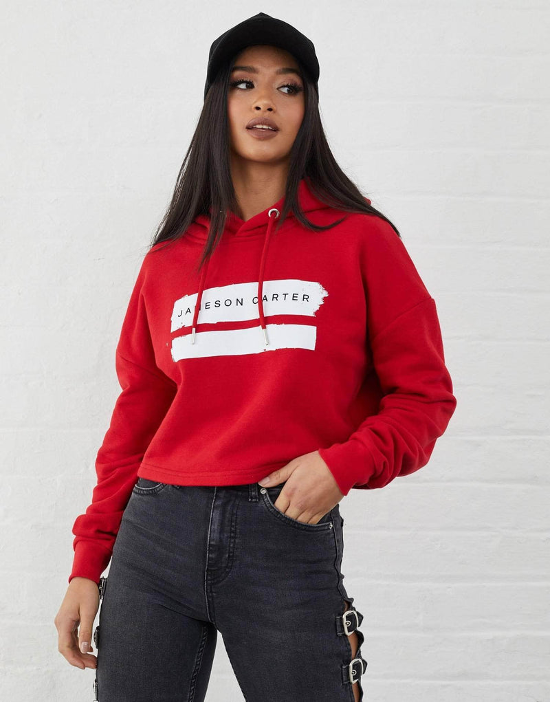 Roxanne Cropped Paint Stripe Hoodie - Red
