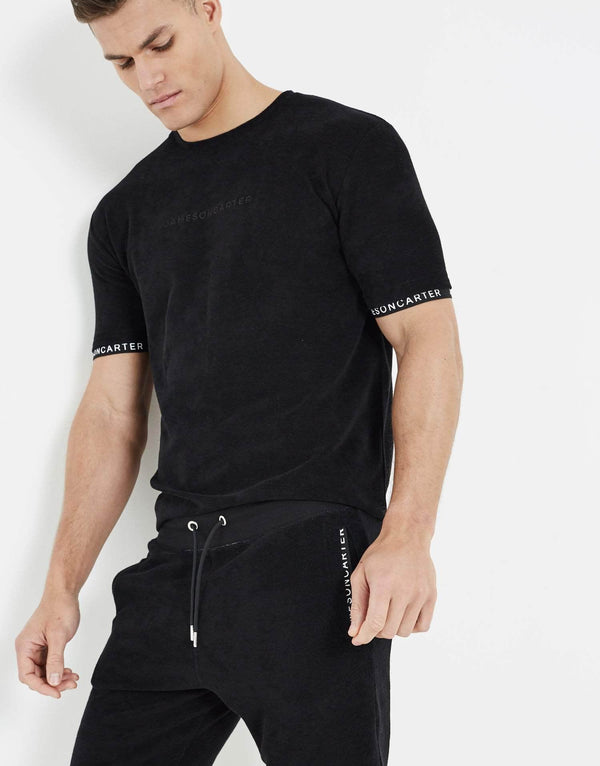 Towelling Twin Set Shorts - Black