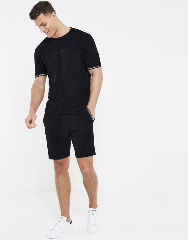 Towelling Twin Set T-Shirt - Black