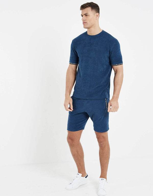 Towelling Twin Set T Shirt - Royal Blue