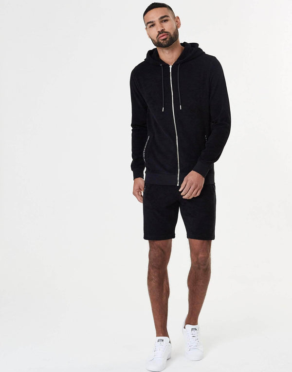 Towelling Twin Set Zip Hoodie - Black