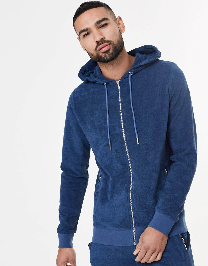 Towelling Twin Set Zip Hoodie - Royal Blue