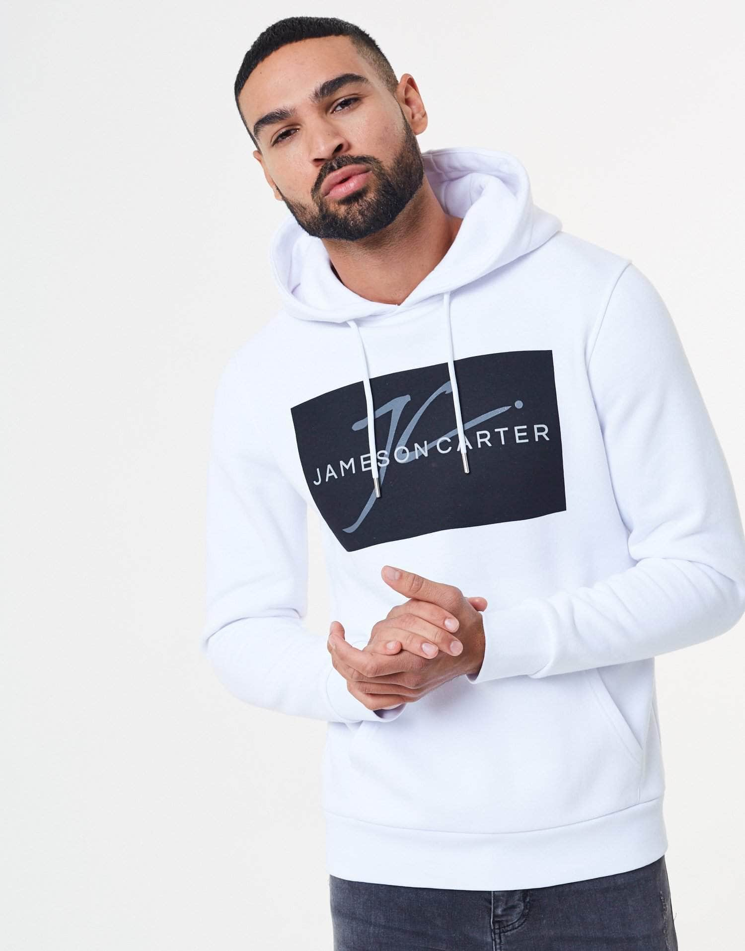 Jameson Carter Hoodies, not-sale Turner Box Logo Hoodie - White & Black