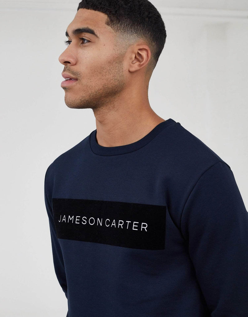 Velour Box Logo Jumper - Navy