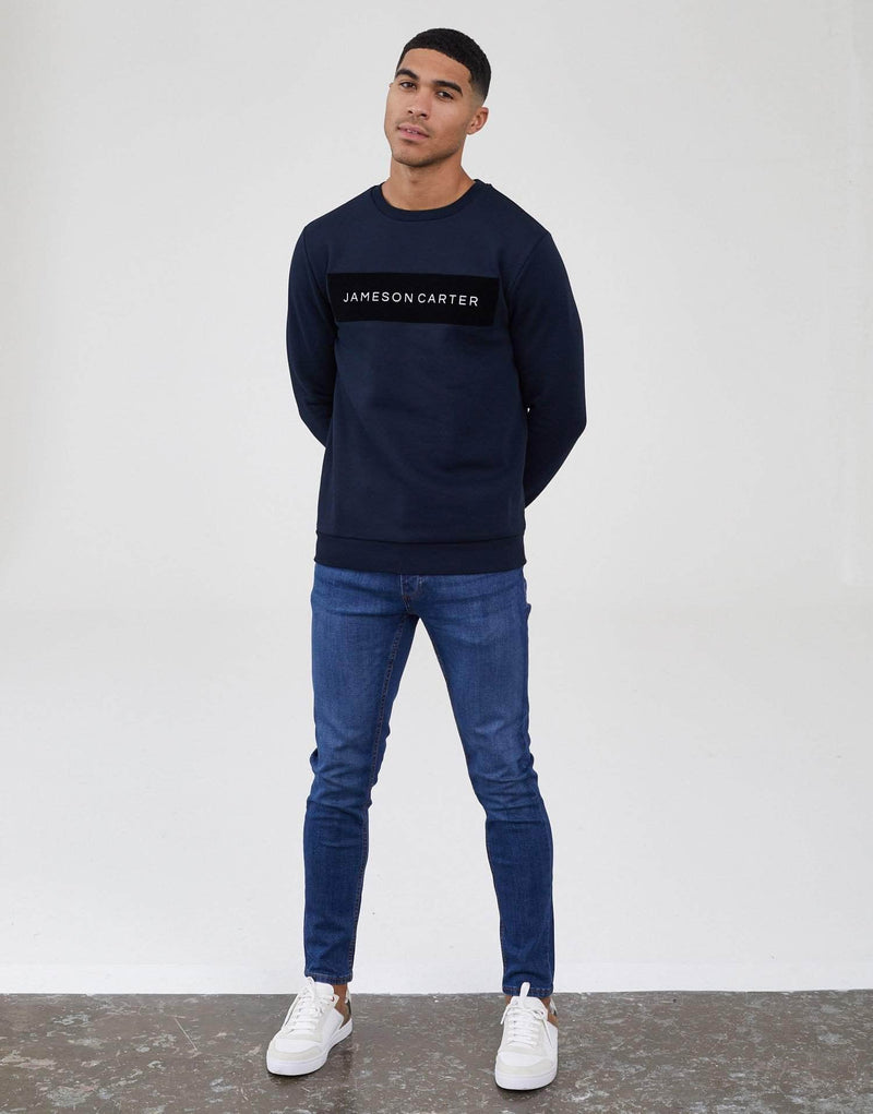 Jameson Carter Men Velour Box Jumper - Navy