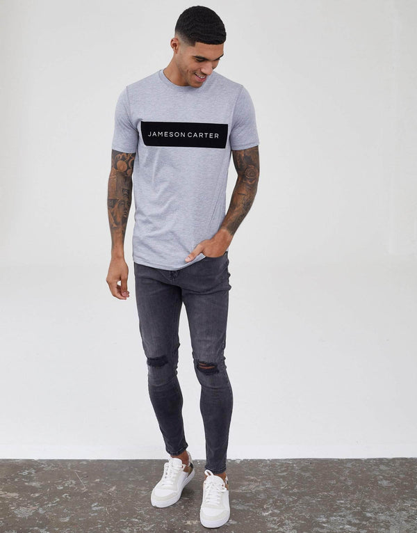 Velour Box T-Shirt - Grey Marl