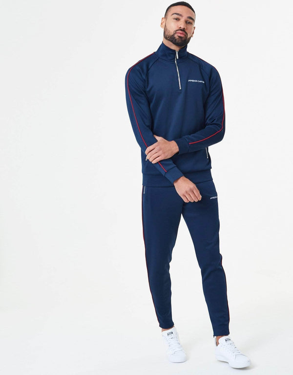 Victor Piped Poly Tracksuit Pants - Navy & Red