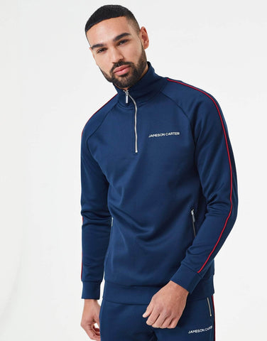 Jameson Carter Hoodies, not-sale Victor Piped Poly Tracksuit Zip Through Jacket - Navy & Red