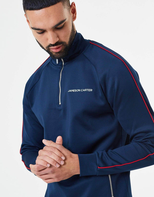 Victor Piped Poly Tracksuit Zip Through Jacket - Navy & Red