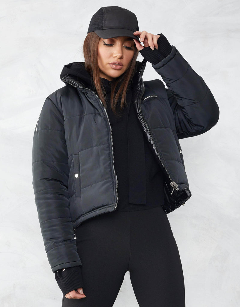 Jameson Carter Womens Coat Xayla Reversible Cropped Puffer Jacket - Black