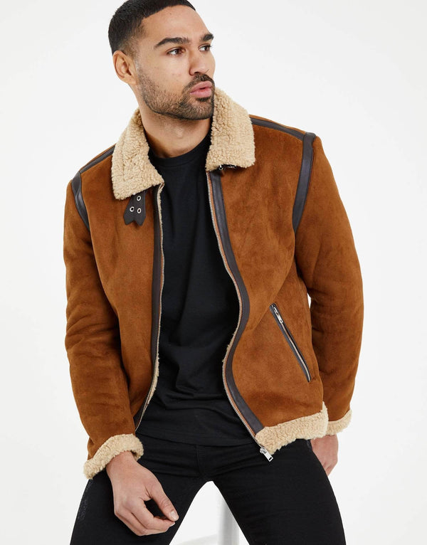 Xeno Essence Vegan Shearling Jacket - Tan