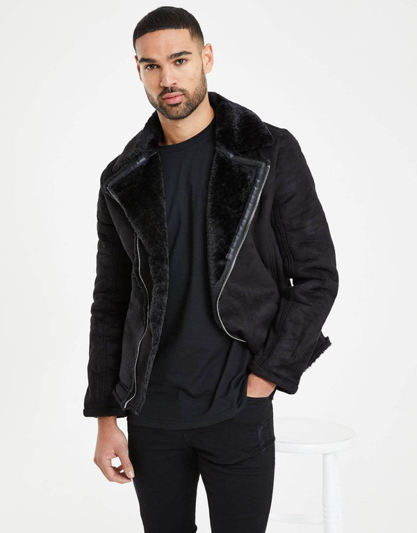 Zephyr Essence Vegan Suede Biker Jacket - Black