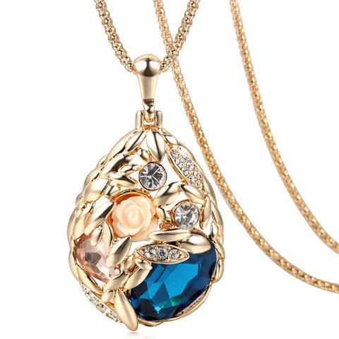 Gold Plated Popcorn Chain Austrian Crystal Jewelry Pendant Gift Rose Flower